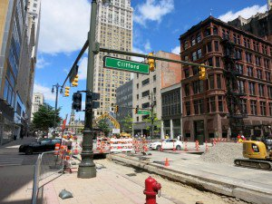 Woodward Ave under construction for new light rail -003